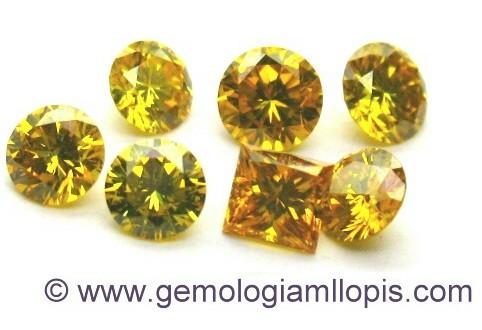 Lote de diamantes sintéticos amarillos que estaban mezclados con naturales.