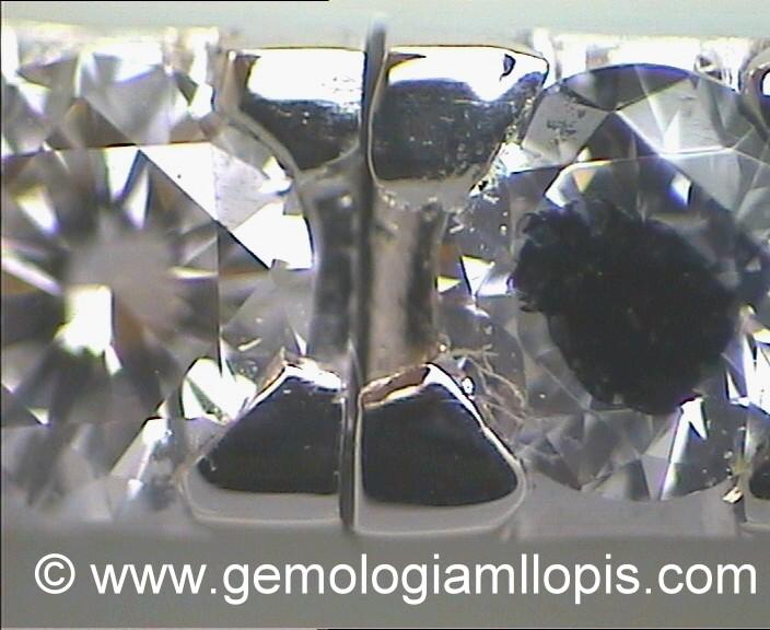"""Pulsera """"riviere"""" de diamantes circonita mezclada marcada con rotulador negro"""
