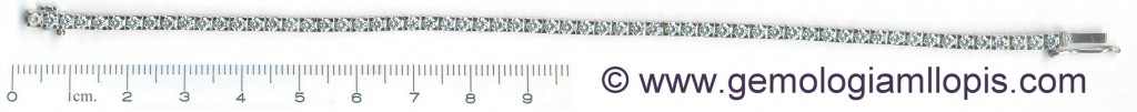 """Pulsera """"riviere"""" de diamantes con 6 circonitas mezcladas"""