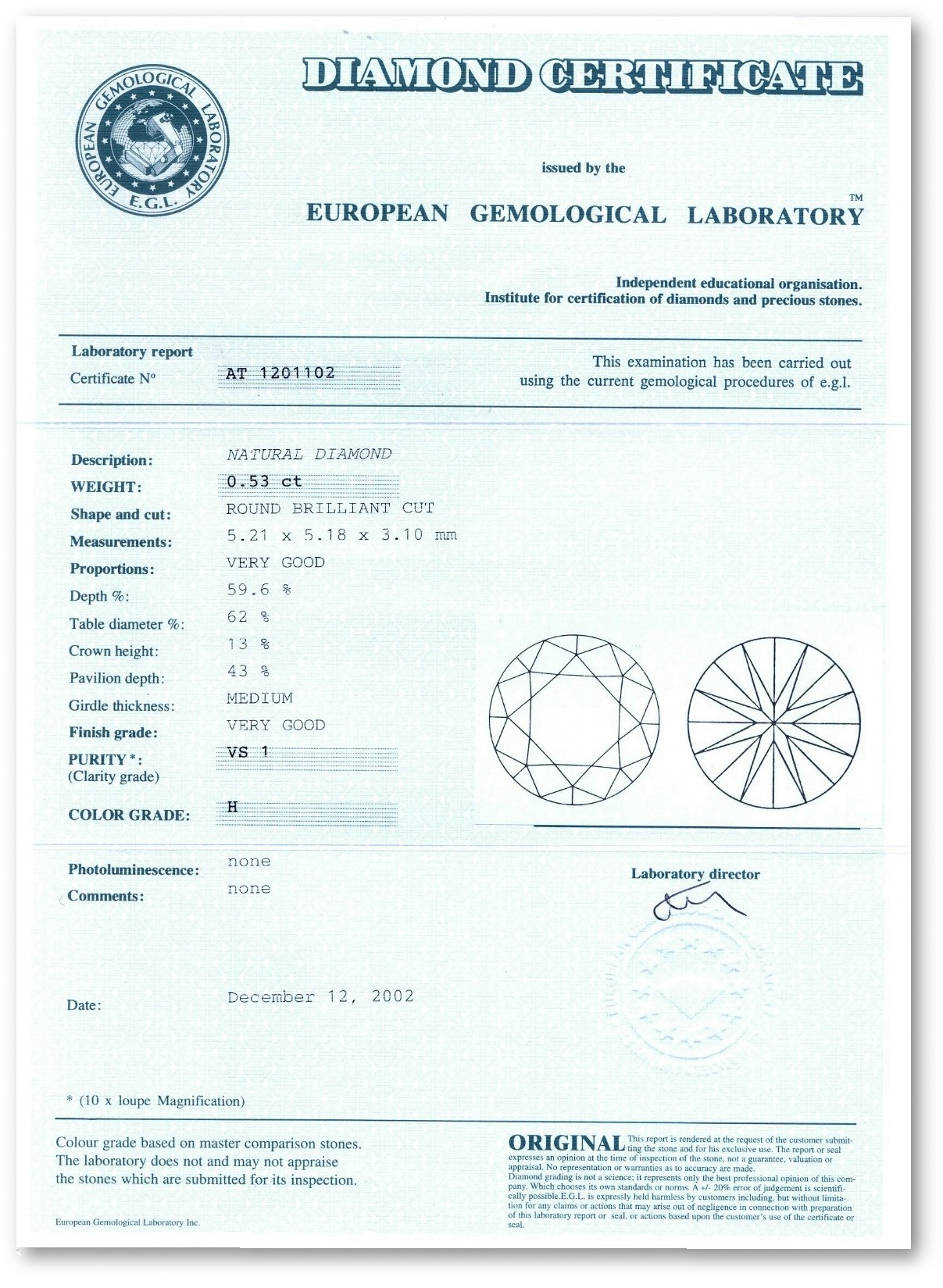 Certificado de diamante fraudulento