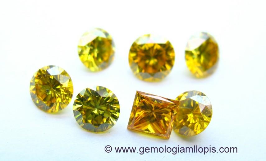 Diamantes sinteticos HPHT amarillos