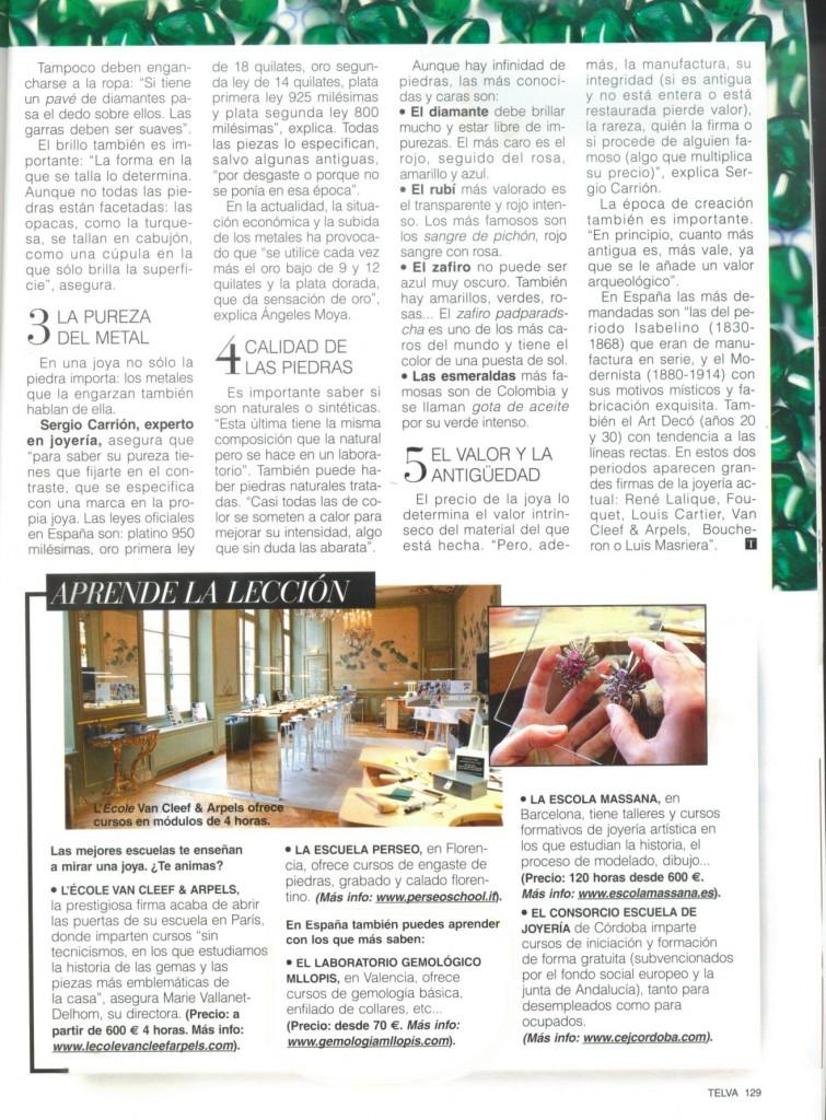 pagina de Telva especial Joyas y relojes