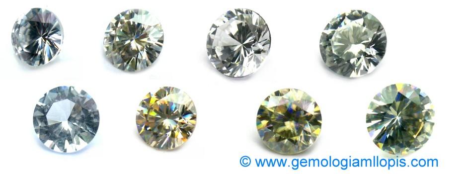 Piedras incoloras, rutilo sintético, zircón incoloro, fabulita, moisanita, cuarzo cristal de roca, doblete de espinela sintética y fabulita.