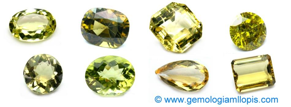 Piedras amarillas, crisoberilo, heliodoro, cuarzo limón, topacio, diamante, zafiro amarillo, escapolita.
