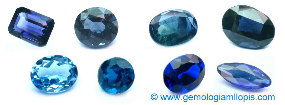 Piedras azules, zafiros, espinelas, apatítos, topacio, doblete de granate y vidrio azul.