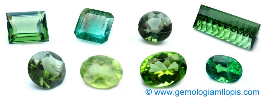 Piedras verdes, crisoberilo, apatito, prehenita, granate tsavorita, zafiro verde, turmalina, esmeralda.