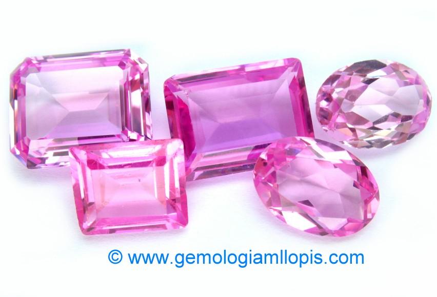 Lote de corindones sintéticos de color rosa comercializados como Rosa de Francia