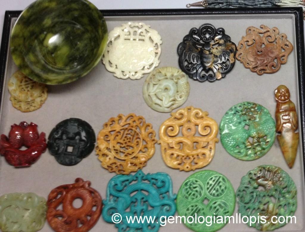 Parte de una colección privada de supuestas piezas de jade.