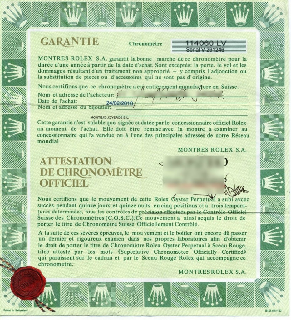 Garantia de reloj Rolex falsificada.