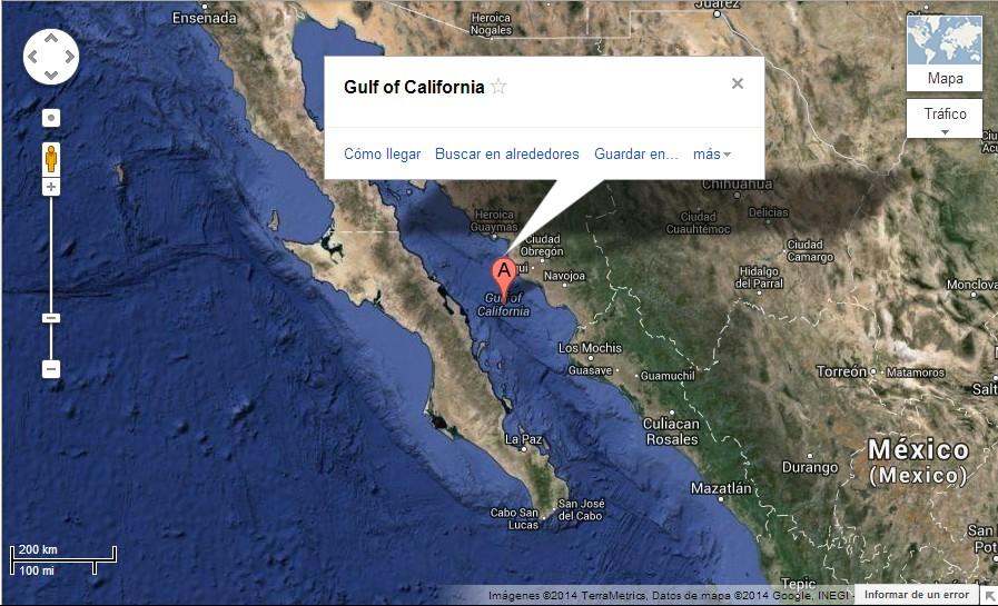 Golfo de California donde se encuentra el Mar de Cortez
