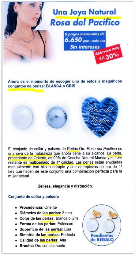 Folleto publicitario de un banco para comercializar unas perlas de imitación.