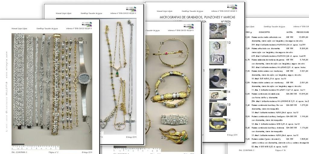 Ejemplo de catálogo y valoración de joyas en MLLOPIS