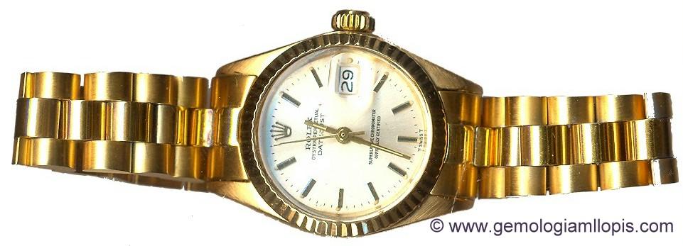 Rolex señora brazalete falso de acero chapado