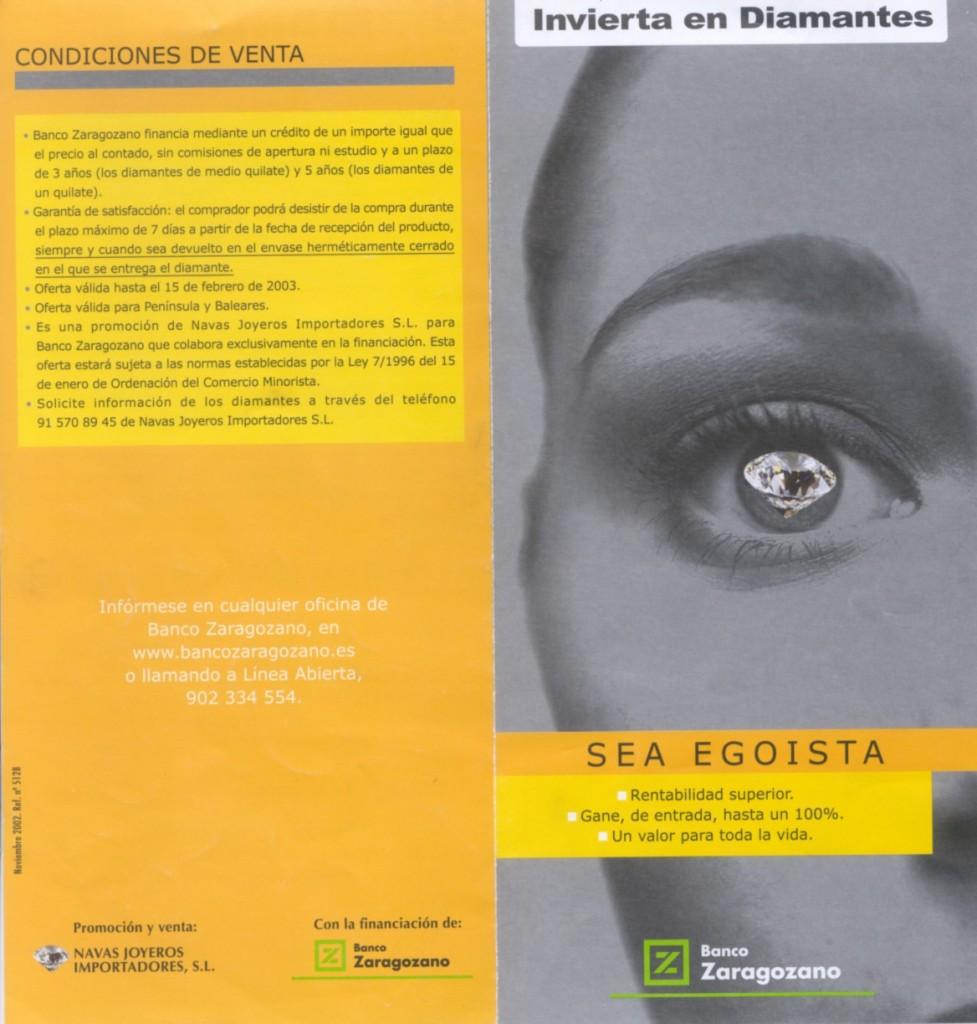 Propaganda del Banco Zaragozano para que compres diamantes certificados por EGL