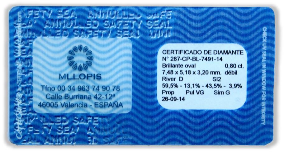 Blister  o cápsula de seguridad para certificados de diamante