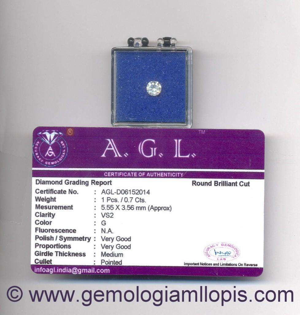 Certificado de diamante AGL falso