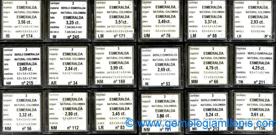 Ejemplo de referencia en los estuches con parejas, tríos, etc de esmeraldas colombianas.
