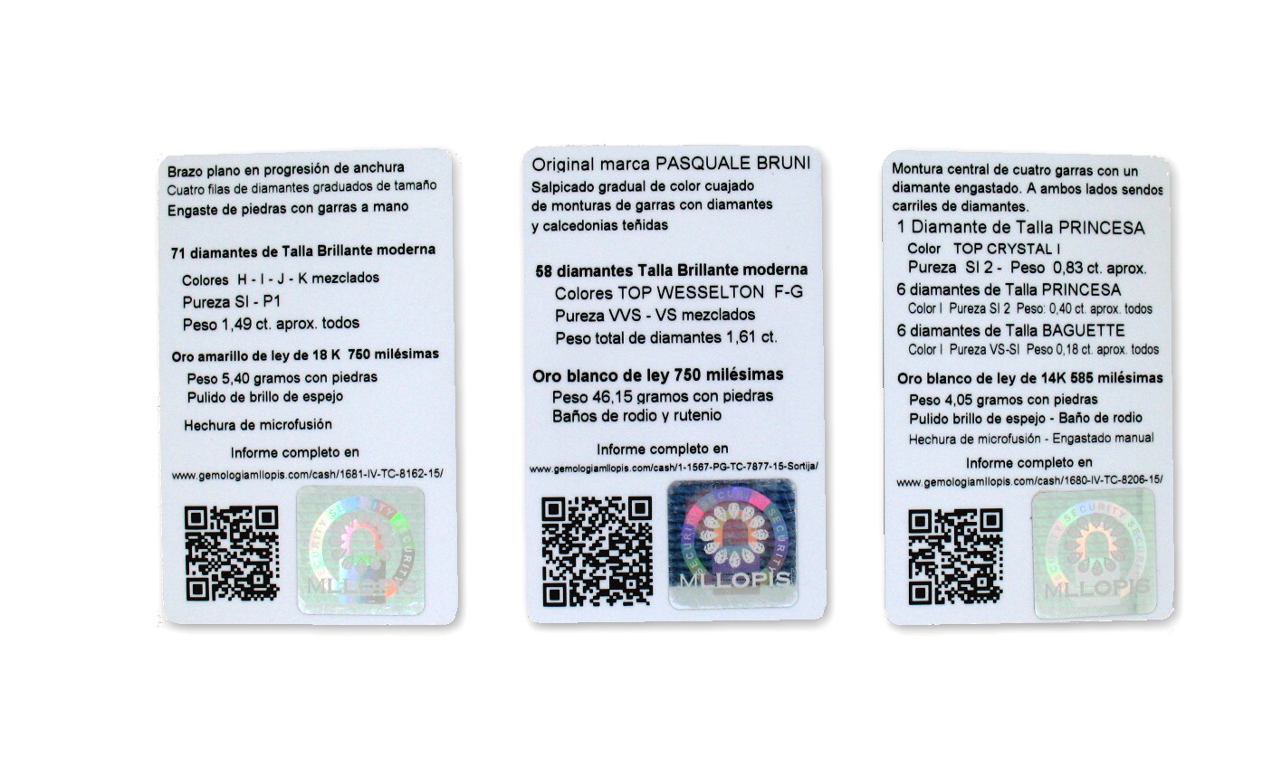 Ejemplos de Informes Gemológicos en tamaño tarjeta de crédito, reverso.