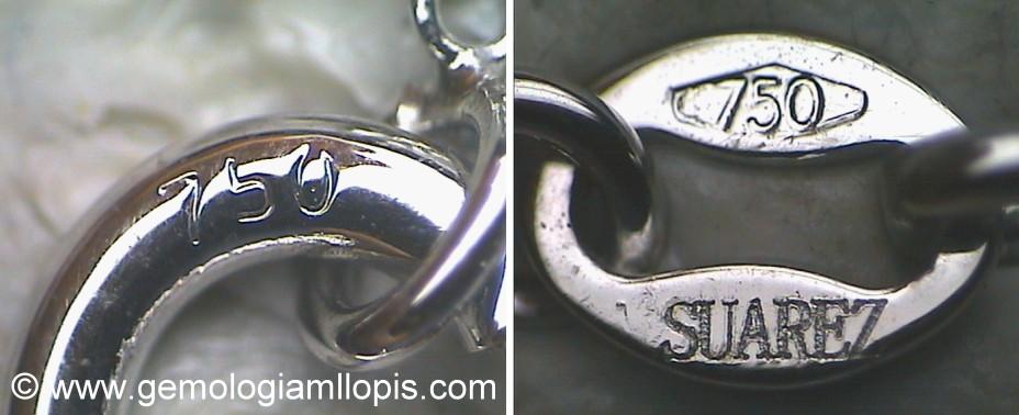 Punzones de ley de metal y marca de joyero en el cierre de la cadena