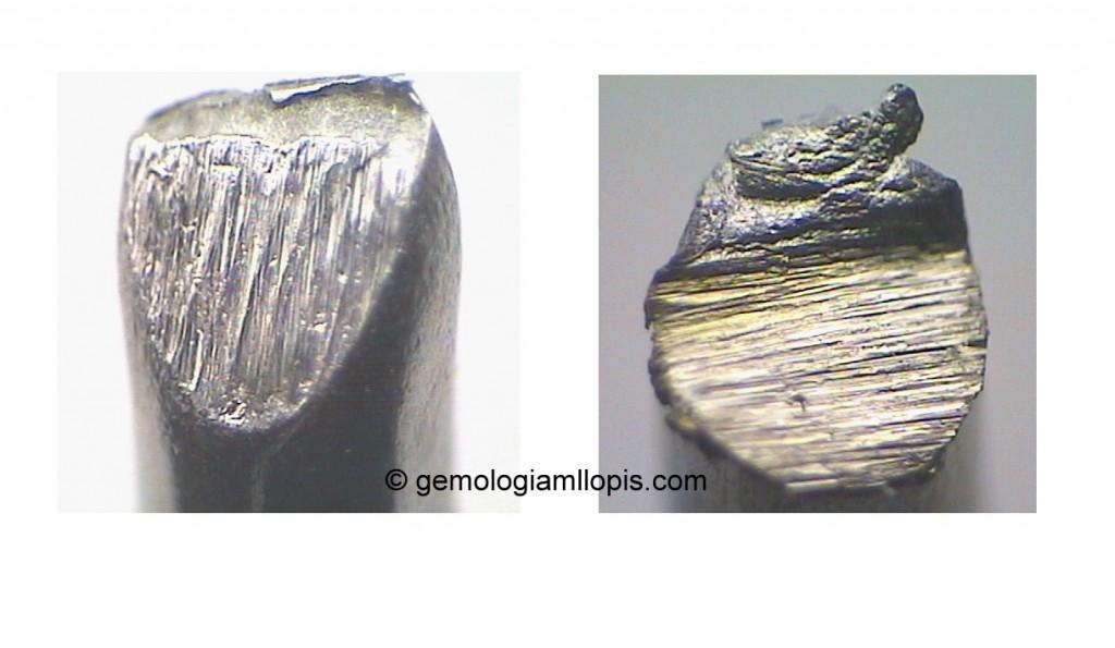 La imagen de la izquierda es un corte realizado con alicates a un fragmento de un aro. Y, la imagen de la derecha es un corte con sierra efectuado en otra zona del mismo fragmento. Los aros no estaban huecos ni tenían cavidades en su interior.