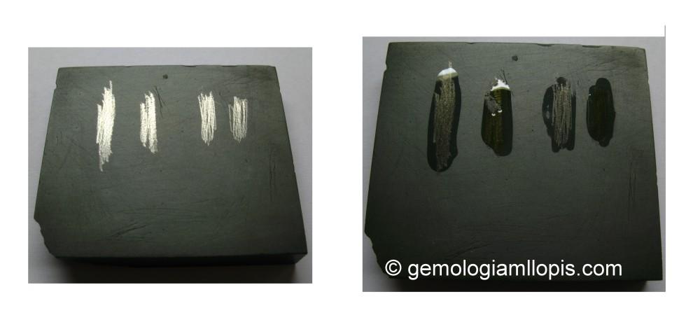 Hicimos dos rayas con la superficie del aro y dos con la parte interna (figura de la izquierda). Y comprobamos que el líquido de 18K no le afectaba, pero el líquido de platino sí que  disolvía la raya.
