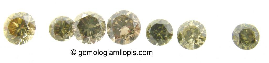 Algunos de los diamantes de color intenso seleccionados para ser estudiados