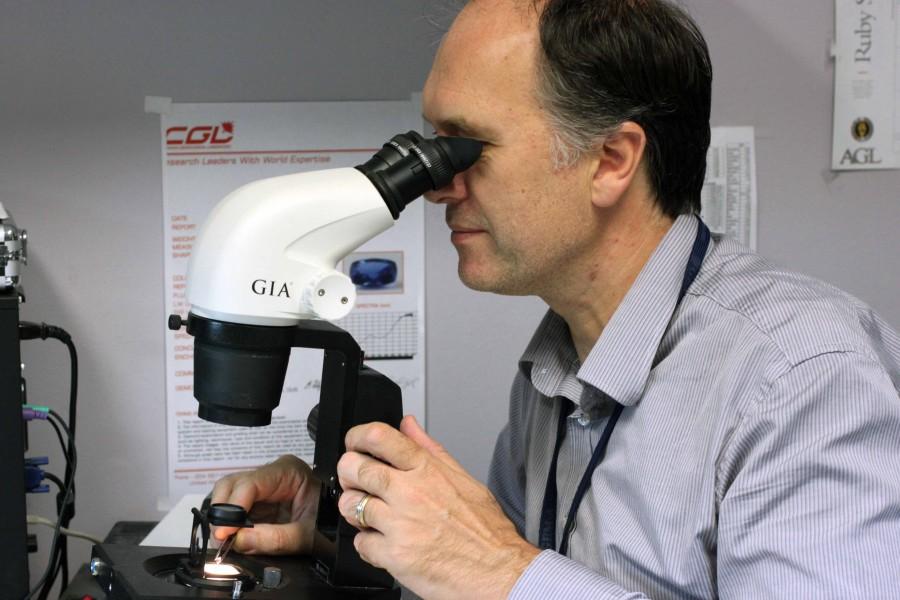 Branko Deljanin (CGL-GRS) examinando un diamante con un polariscopio portátil