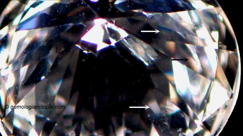 Las flechas señalan las líneas de grano en oto diamante. Luz reflejada difusa, 20x.