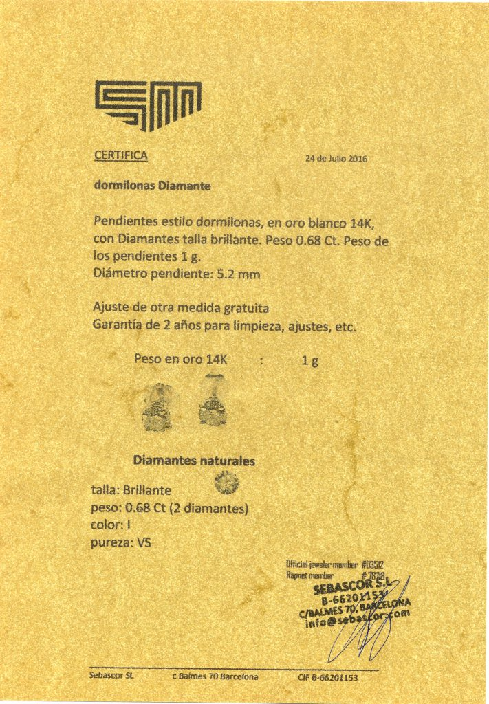 Supuesto certificado de diamante