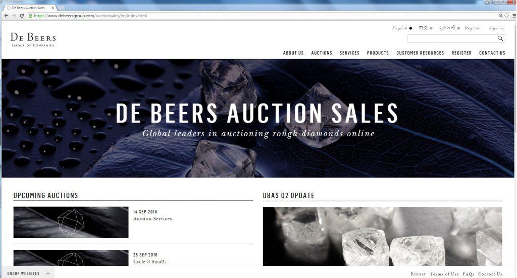 Sitio web de De Beers Auction Sales