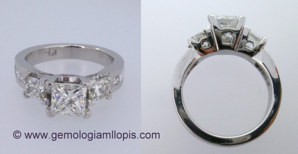 Diamante natural tratado con láser y relleno de vidrio
