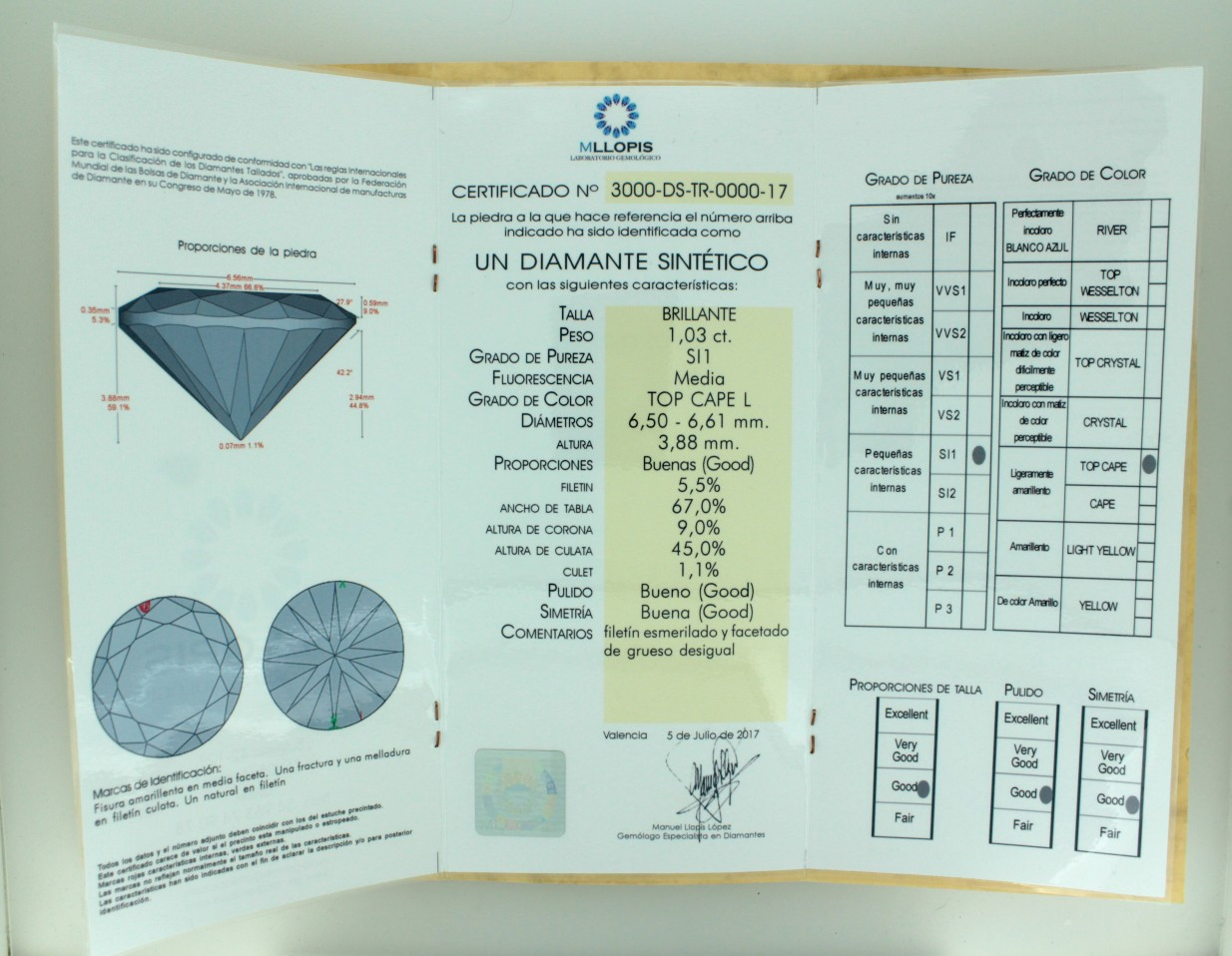 certificado de diamante sintetico