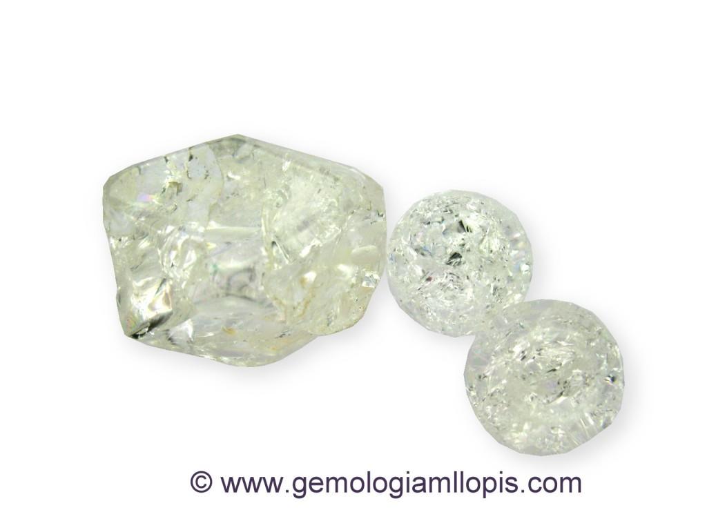 Cuarzo cristal de roca craquelado sin teñir