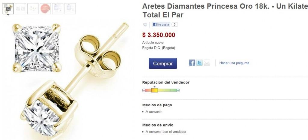 Anuncio en Internet de una empresa americana que vende diamantes engarzados.