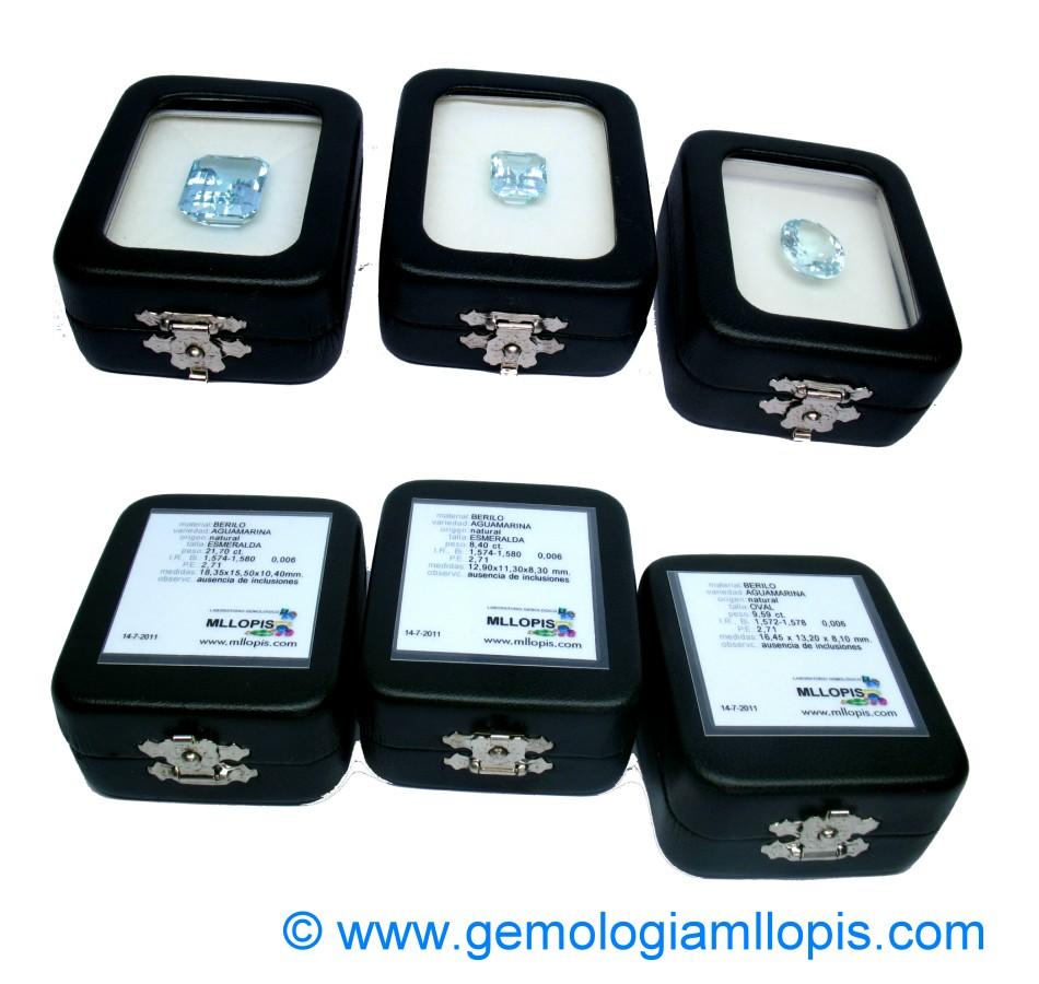 Estuches de gemas con su ficha gemológica