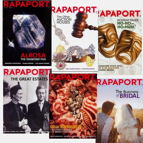 Revistas Rapaport con temas sobre diamantes y hojas de precios de diamantes