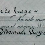 Titulo de Sacador de Fuego de Manuel Llopis Chisvert