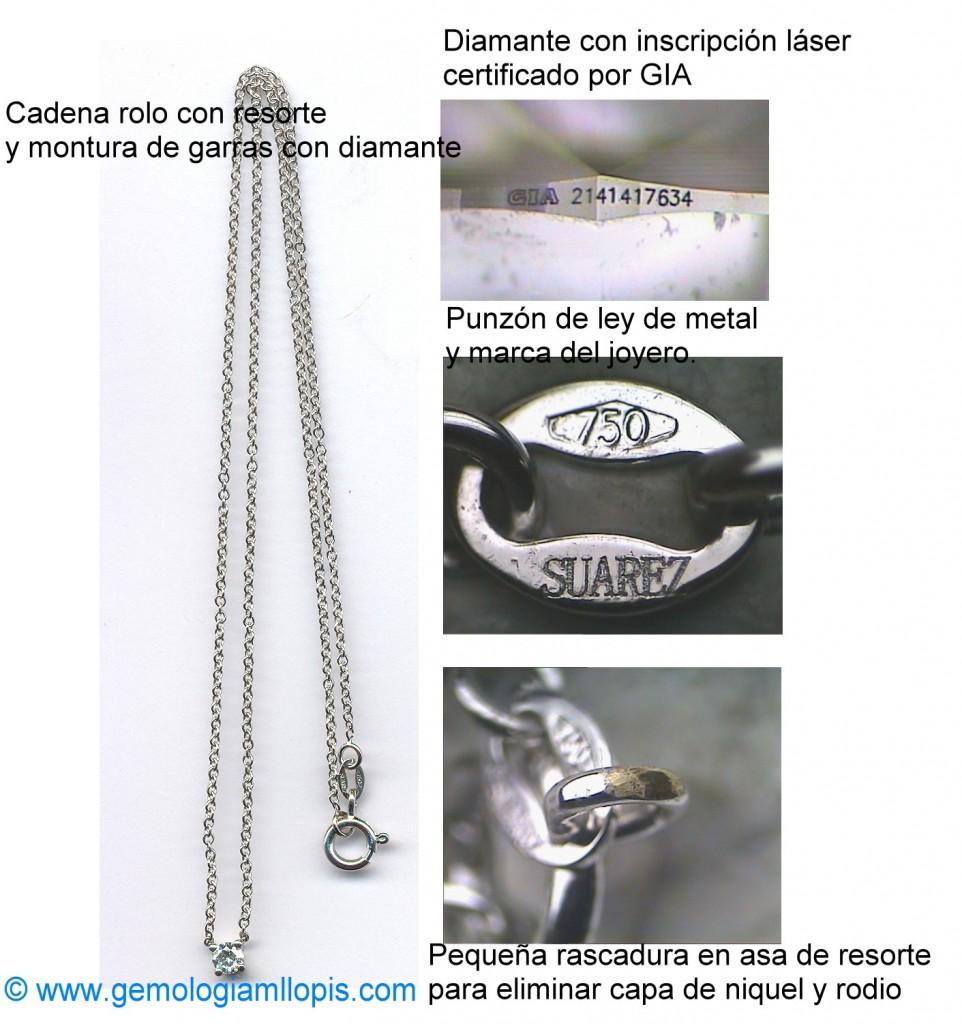 Cadena de oro 18K con diamante niquelada y rodiada