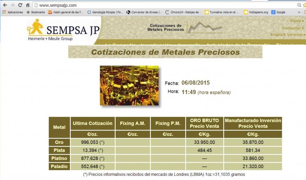El precio del oro mas caro que el del platino