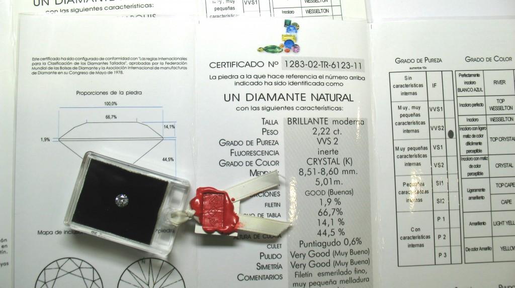 Certificado de diamante con estuche de metacrilato y lacre de MLLOPIS